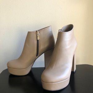 Faux Leather Beige Shoes